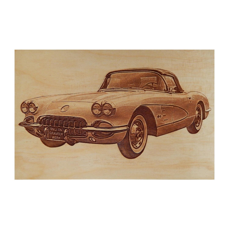 Chevrolet Corvette 1958 Gegraveerd Op Hout